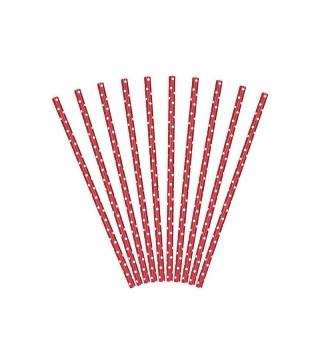 Трубочки для коктейля красные в горох 10шт/уп