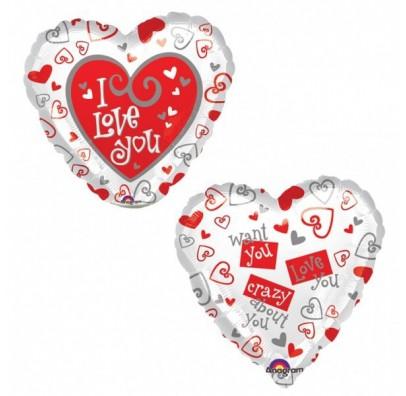 Шарик фольгированный сердце I love you