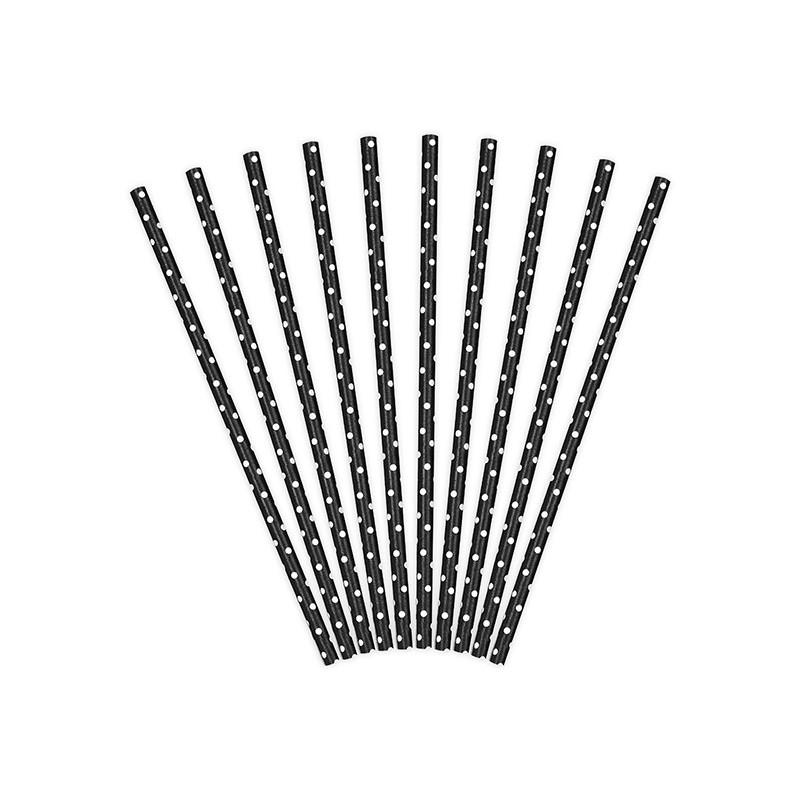 Трубочки для коктейля черные в горох 10шт/уп