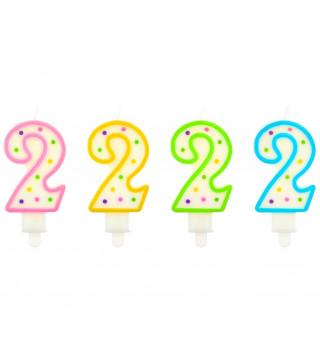 Свеча цифра 2 в точечку