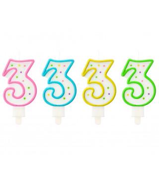 Свеча цифра 3 в точечку