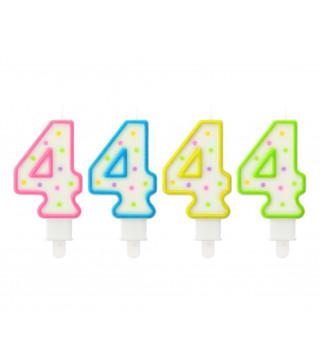 Свеча цифра 4 в точечку