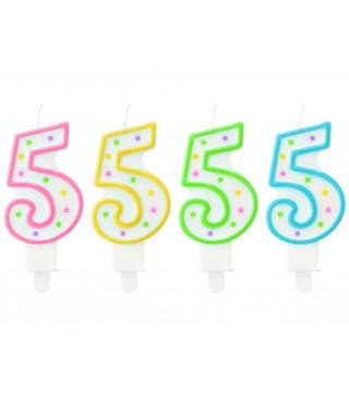 Свеча цифра 5 в точечку