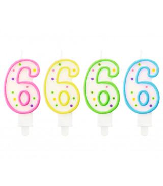 Свеча цифра 6 в точечки