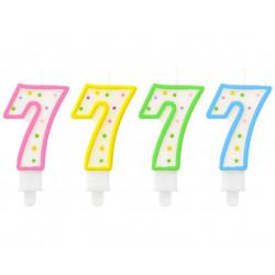 Свічка цифра 7 в крапочку