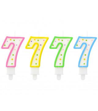 Свеча цифра 7 в точечку