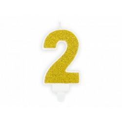 """Свічка цифра """"0"""" з золотою блисківкою парафін 74820 PartyDeco"""
