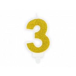 "Свічка цифра ""3"" з золото ,парафін"