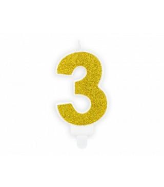 """Свеча цифра """"3"""" с золото, парафин"""