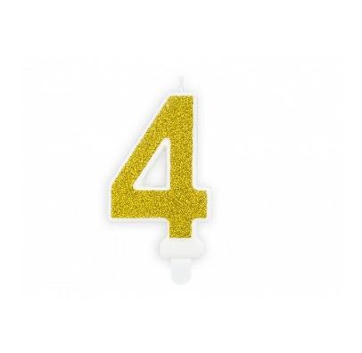 """Свеча цифра """"4"""" с золото, парафин"""