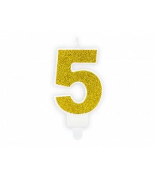 """Свеча цифра """"5"""" с золото, парафин"""