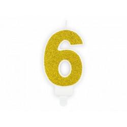 """Свеча цифра """"6"""" с золото, парафин"""