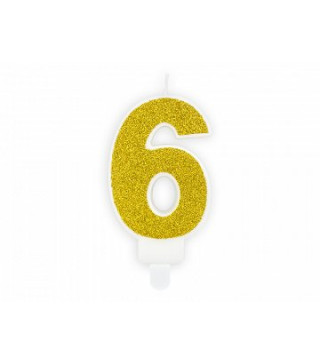 "Свічка цифра ""6"" з золото ,парафін"