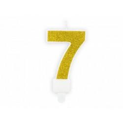 "Свічка цифра ""7"" з золото ,парафін"