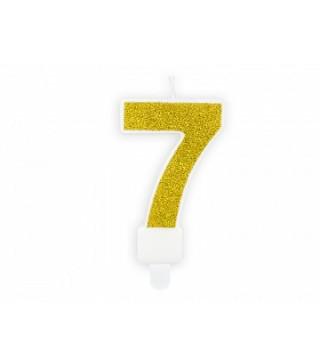 """Свеча цифра """"7"""" с золото, парафин"""