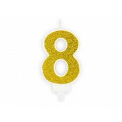 """Свеча цифра """"8"""" с золото, парафин"""