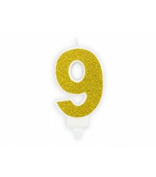 """Свеча цифра """"9"""" с золото, парафин"""