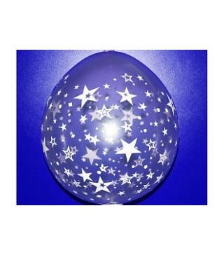 """Куля 80 GS18/18"""" Сюрприз в білі зірочки латекс 112235 Gemar"""