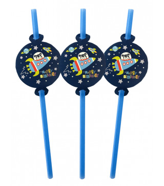 Трубочки для коктелю Космос 6 шт/уп. пластик папір F-9035655