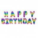 Кульки Букви HAPPY BIRTHDAY Райдуга 13шт/уп фольга 18892 Китай