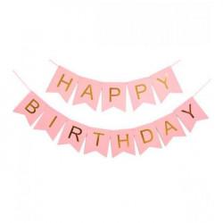 Декорація Гірлянда  флажки Happy Birthday рожеві папір 79891 Китай