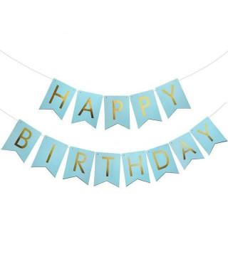 Гирлянда-флажки Happy Birthday голубые