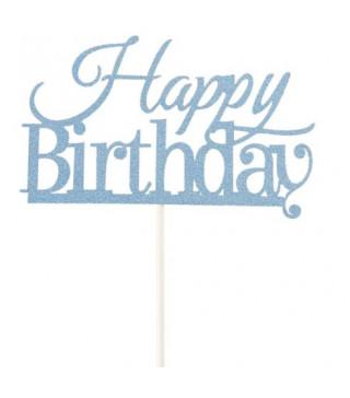 Декорація на стіл Топер паперовий Happy birthday синій папір T-42 Китай