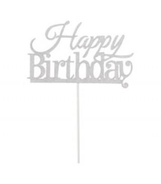 Декорація на стіл Топер паперовий Happy birthday срібний папір T-40 Китай