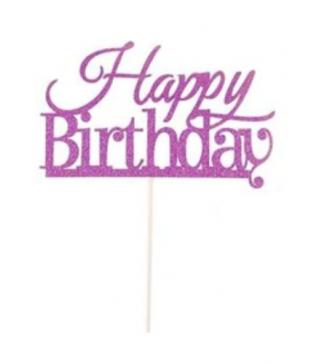 Декорація на стіл Топер паперовий Happy birthday фіолетовий папір T-43 Китай