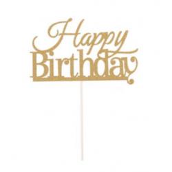 Декорація на стіл Топер паперовий  Happy birthday золотий папір T-41 Китай