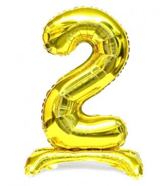 Кульки Цифра 2 на підставці, Золото, 80см