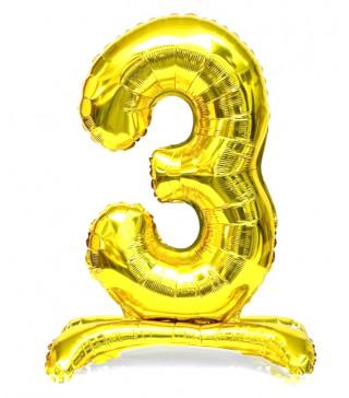 Шарики Цифра 3 на подставке, Золото, 80см