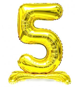 Шарики Цифра 4 на подставке, Золото, 80см