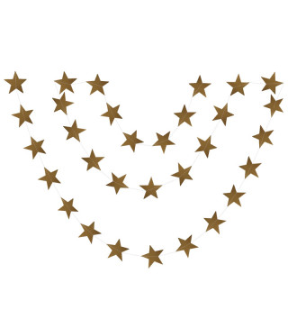 Декорація Гірлянда Зірочки золоті з глітером фольга 0399 Китай