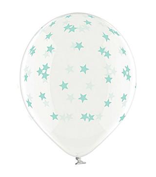 """Кульки поштучно з малюн. 14""""прозора в маленькі зірки мятні1,75г Ш-98841 BELBAL"""