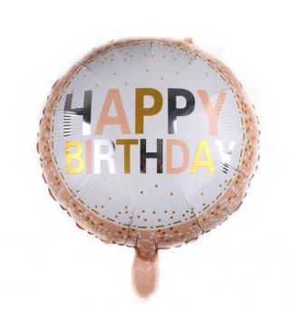 """Кульки фольг з малюнк. А18""""Happy Birthday на персиковому фоні2,5г) 215116 Китай"""