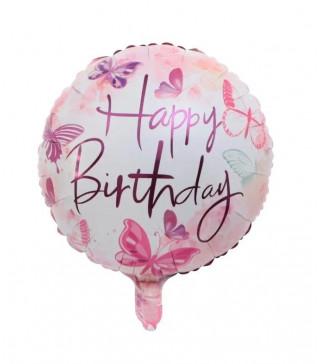 """Кульки фольг з малюнк. А18""""Happy Birthday Метелик рож. 2,5г) 215117 Китай"""