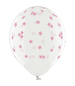 """Кульки поштучно з малюн. 14""""прозора в маленькі зірки рож.1,75г Ш-98842 BELBAL"""
