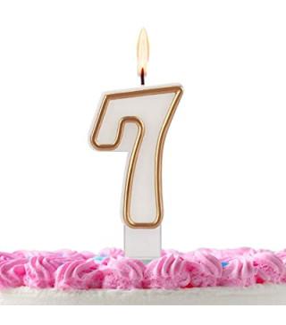 Свеча цифра 7 золотой контур