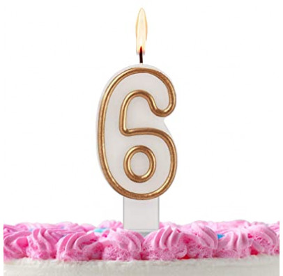 Свічка цифра 6 золотий контур