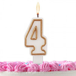 Свічка цифра 4 золотий контур