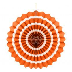Декорація Паперова розетка оранжева в білий пасок40см папір 62600 Godan