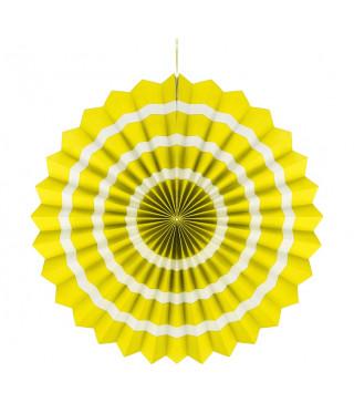 Паперова розетка жовта білий пасок 40см
