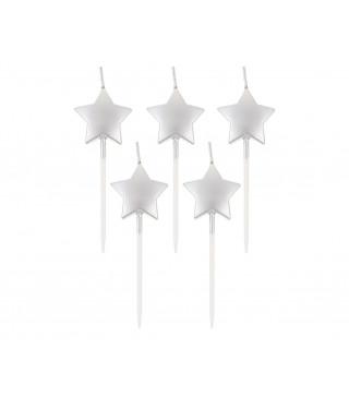 Свічка в торт з фігурками Срібні зірочки 5шт/уп