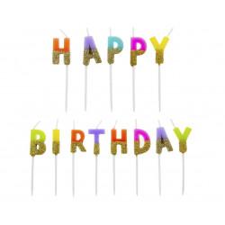 Свічка букви Happy birthday кольор.з блискітками парафін