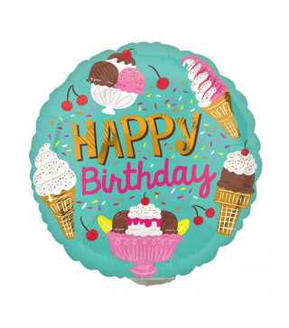 "Кульки фольг з малюнк. 9""Happy Birthday солодощі 38550 Amscan"