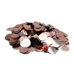Конфеті кружечки  25 гр.рожеве-золото поліпропілен 02129