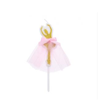 Свічка в торт з фігурками Happy birthday Балерина.золота парафін 38279 Китай