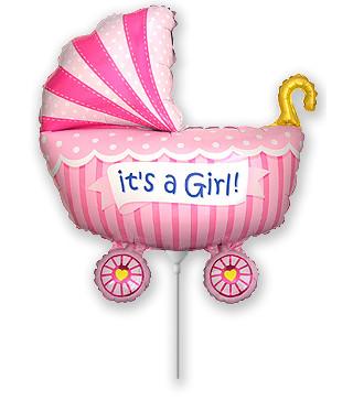 Кульки міні Коляска рожева фольга 902741 FlexMetal