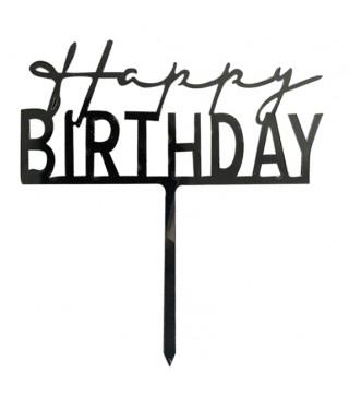 Топер Happy birthday черный
